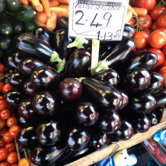 Madam - not a good day - except for these shiny aubergines