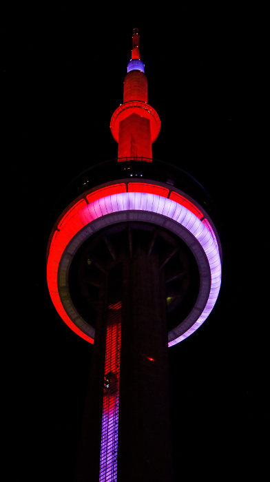 Madam - You mean that isn't a mosque? - CN tower night time